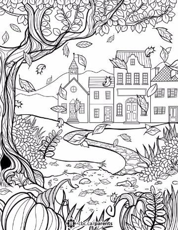 dibujos para colorear de otoño paisajes