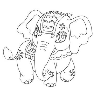 dibujos de elefantes para niños faciles