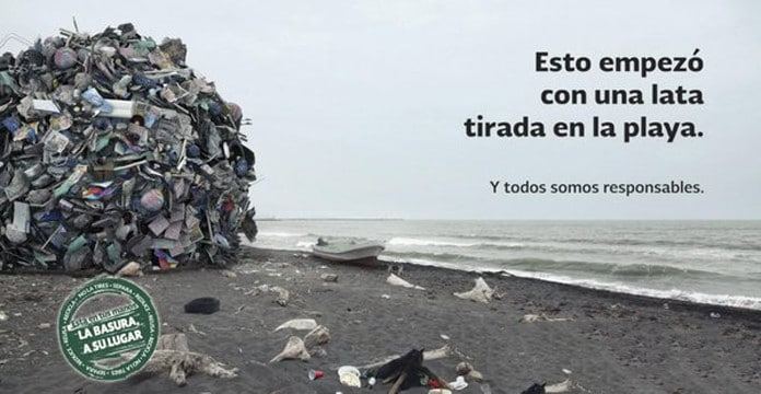frases para no tirar basura en la playa