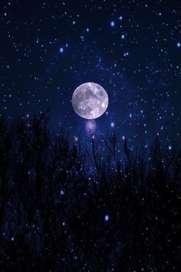 imagenes de la luna y las estrellas brillantes