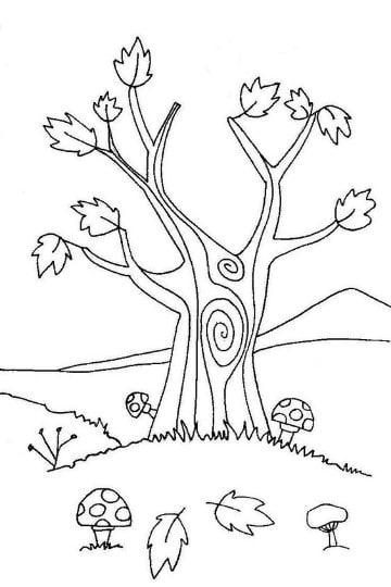 imagenes de otoño para colorear de prescolar
