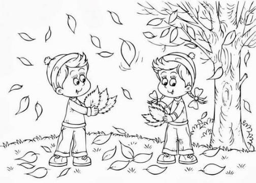 imagenes de otoño para colorear infantiles
