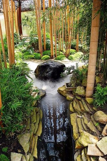 jardines con bambu y pierdas