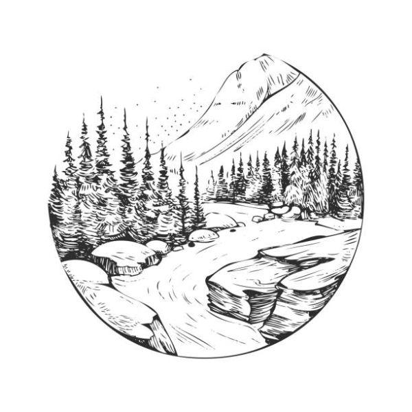 imagenes de paisajes naturales para dibujar para etiqueta