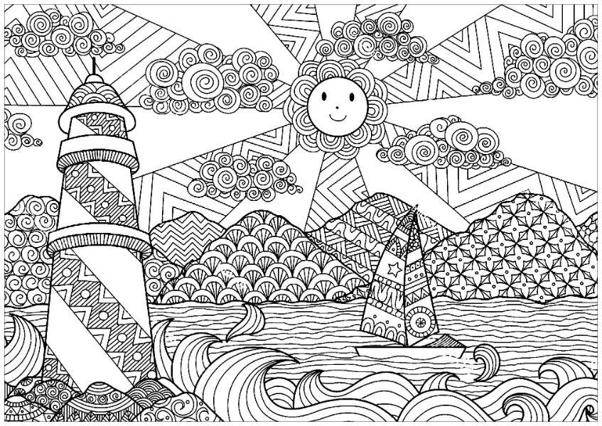 imagenes de paisajes para dibujar a color para adultos
