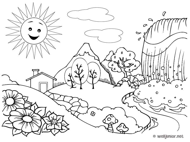 imagenes de paisajes para dibujar a color para niños