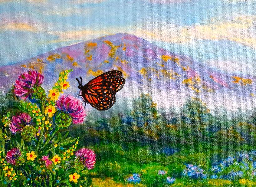 paisajes con mariposas reales en prmer plano pintura