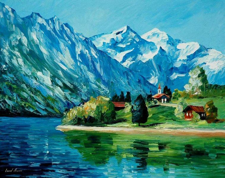 paisajes de montañas y lagos pintura decorativa