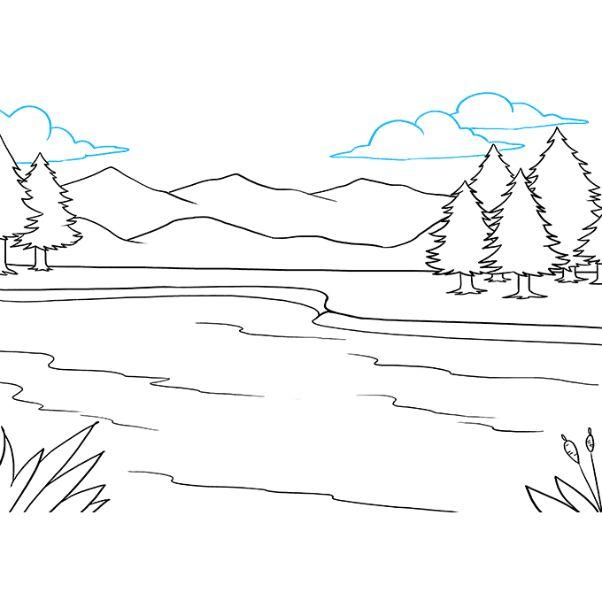 paisajes de montañas y lagos plantilla