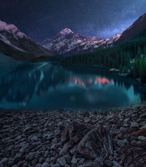 paisajes naturales de noche montañas